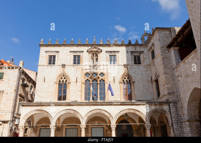 Sponza (Divona) Palace (circa 1522) in Dubrovnik (UNESCO site), Croatia. Architect Paskoje Milicevic Mihov - Stock Image