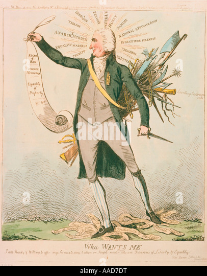 Paine Thomas Brit American publisher 1737 1809 Wha wants me caricature of Paine his scroll Rights of man 1791 and - Stock-Bilder