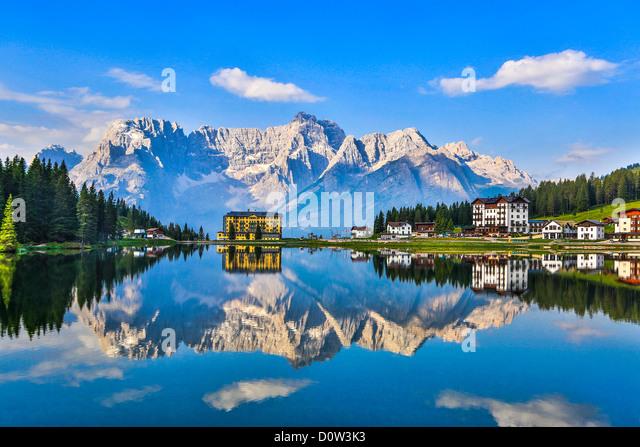 Italy Europe travel Dolomites Antorno Lake Italy Europe travel alps clouds mountains reflection South Tirol Tirol - Stock-Bilder