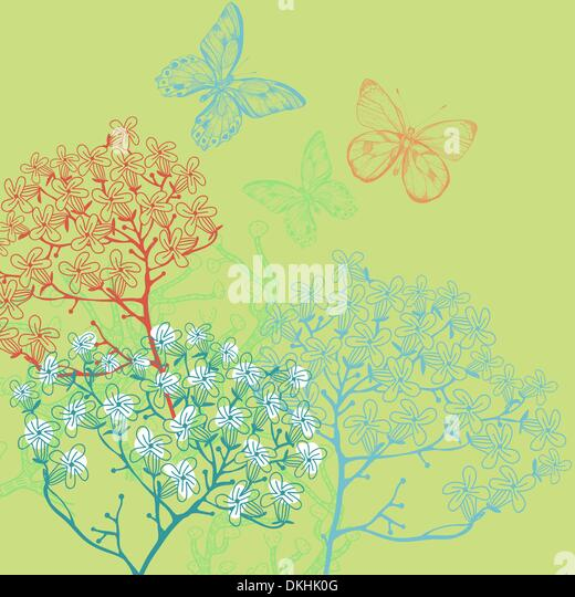 vector illustration of blooming plants on a green background - Stock Image