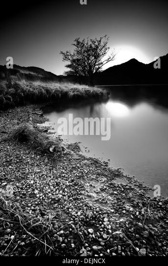 Landscape at sunset at Llyn Gwynant North Wales UK - Stock-Bilder