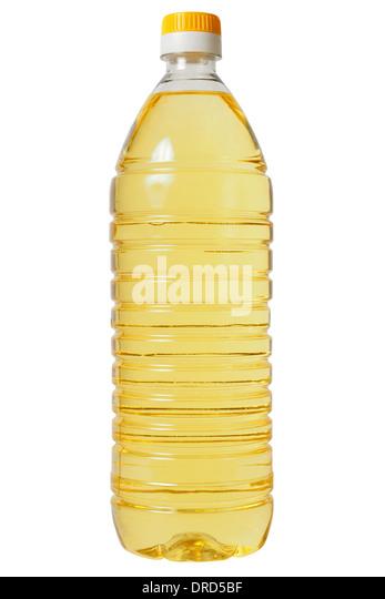 Bottle with sunflower oil isolated on white background. - Stock-Bilder