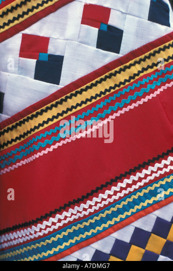 Florida Seminole Indian embroidery closeup - Stock Image