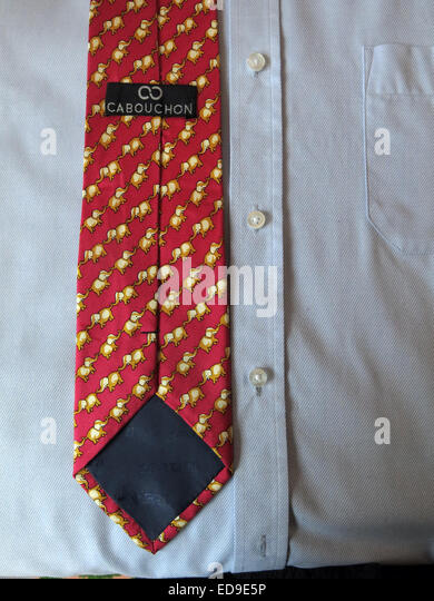Interesting vintage elephant Carbouchon tie, male neckware in silk - Stock Image