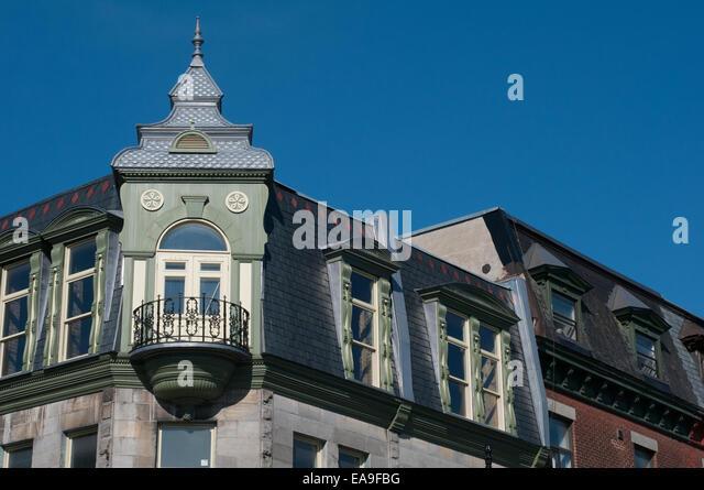 Typical architecture Boulevard Saint Laurent Plateau Mont Royal Montreal - Stock Image