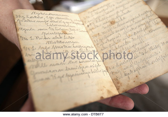 Cake Recipes In Written: Cursive Writing Stock Photos & Cursive Writing Stock