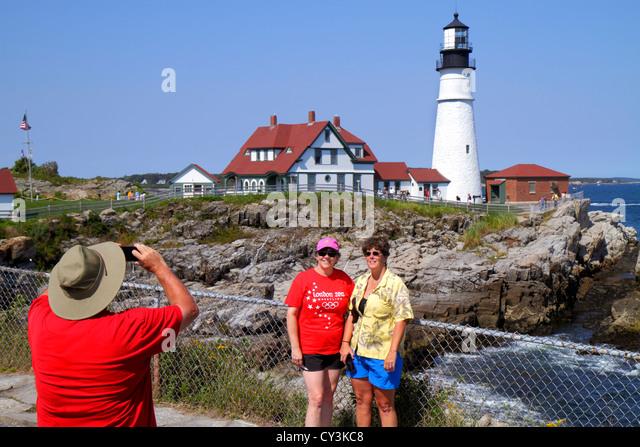 Portland Maine Cape Elizabeth Portland Head Light lighthouse Keeper's Quarters Fort Ft. Williams Park Casco - Stock Image