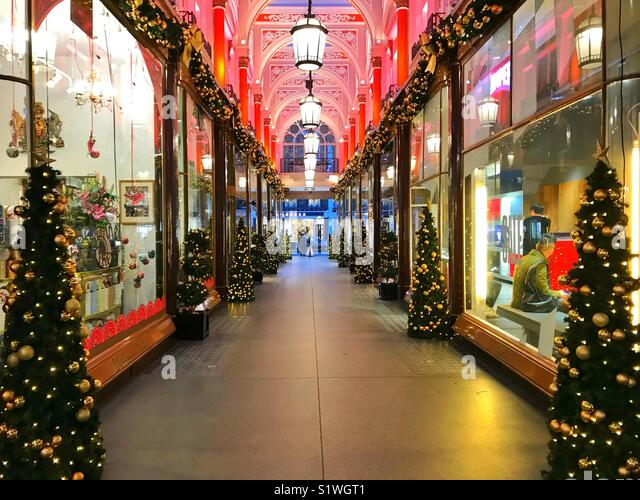 Christmas lights at The Royal Arcade in London, United Kingdom - Stock Image