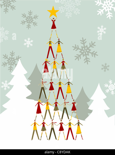 Christmas tree made of people with a yellow star on the top over a snowy background. Vector file available. - Stock Image