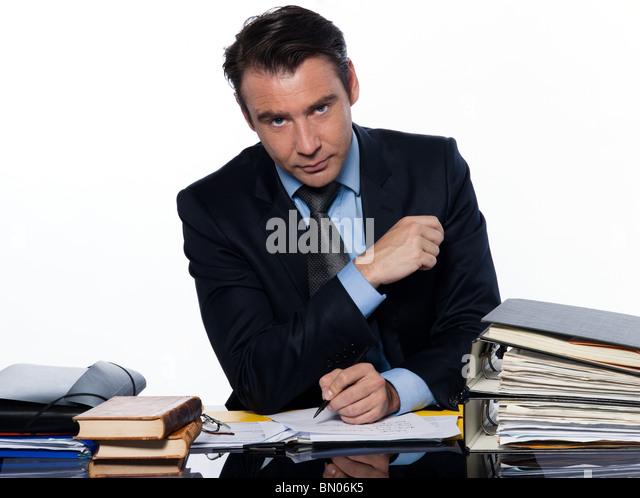 man caucasian teacher professor historian isolated studio on white background - Stock Image