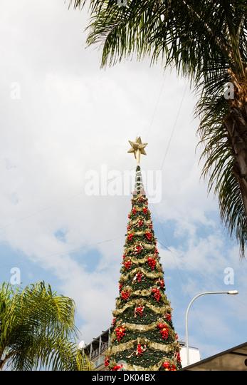 Christmas tree decoration, Larnaca, Cyprus. - Stock Image