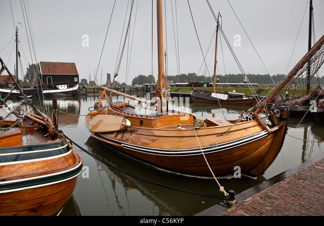 The Netherlands, Enkhuizen. Museum called Zuiderzeemuseum. Boats on display - Stock Image