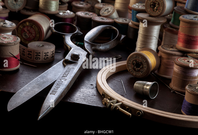 Vintage sewing scene still life - Stock Image