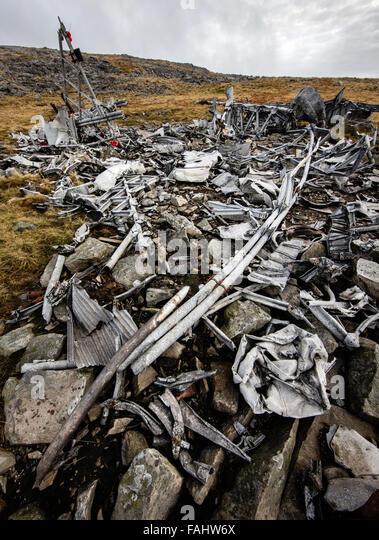 Wreckage of WWII Canadian Air Force crash of Wellington Bomber MF509 at Carreg Coch in the Brecon Beacons South - Stock Image