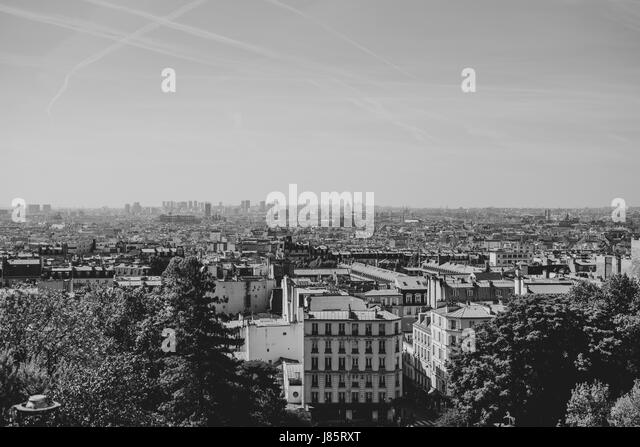View from Montmartre in black and white - Stock Image
