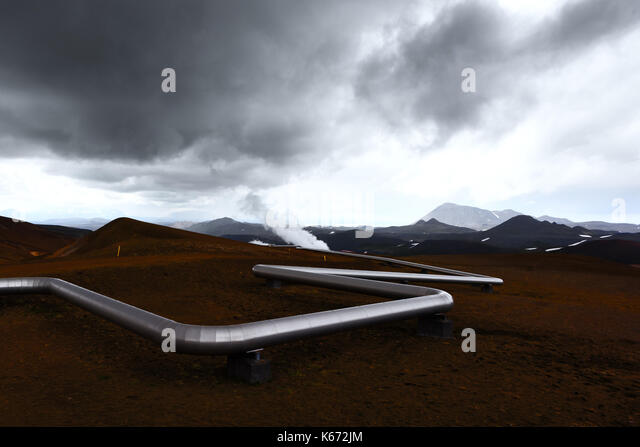 Iceland landscape with pipes in mountains - Stock Image