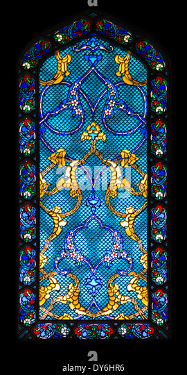 Backgrounds and textures: stained-glass window, abstract colorful pattern - Stock Image