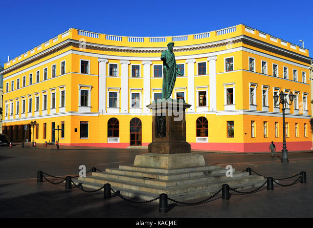 Statue of Duc de Richelieu, first mayor of Odessa, at the top of the Potemkin stairs. - Stock Image