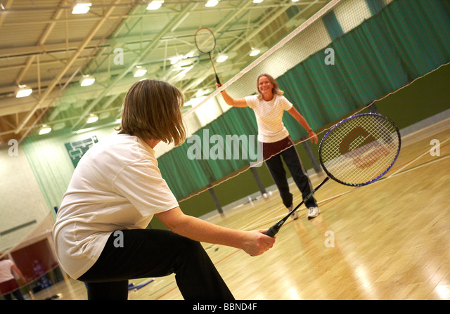 BADMINTON PLAYERS SPORT - Stock Image