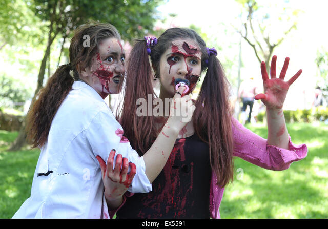 ISTANBUL, TURKEY - MAY 10, 2015: Girls participate and have fun during zombie walk Istanbul in Nisantasi Park - Stock Image