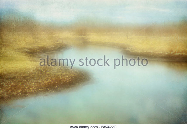 An impressionist pictorialist photograph of a pond in the spring in Alberta, Canada - Stock Image