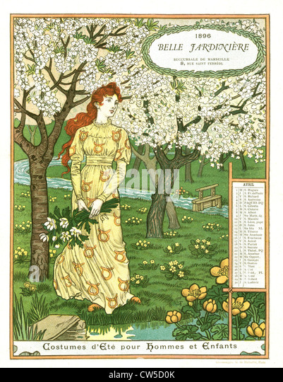 Belle jardinière calendar, month of April Woman picking flowers - Stock-Bilder