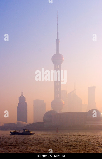Pudong skyline across the Huangpu River, Shanghai, China - Stock Image
