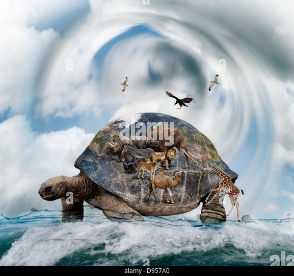 World Turtle Concept Carrying Animals - Stock Image