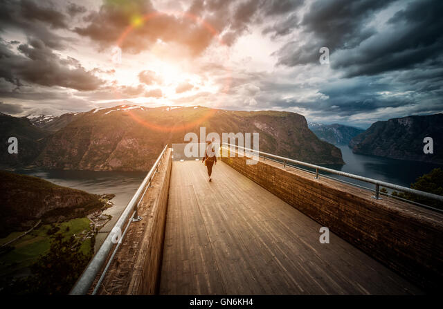 Stegastein Lookout observation deck view point Beautiful Nature Norway. - Stock Image