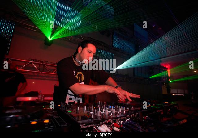 DJ Bad Boy Bill, Winter World 2010, techno festival in Sports Hall Oberwerth, Koblenz, Rhineland-Palatinate, Germany, - Stock-Bilder
