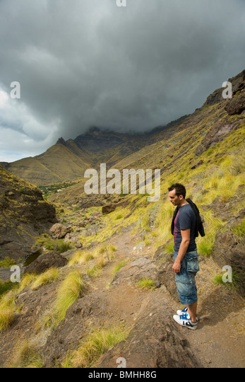 El Risco Barranco on the west coast of Gran Canaria. This is thew path running up to Charco Azul - Stock Image