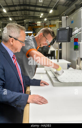 The official opening of the Innovia Security plant in Wigton Cumbria UK. The secure facility produces Guardian Clarity - Stock Image