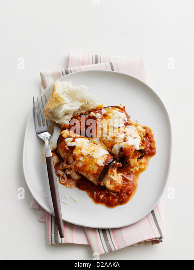 Plate of eggplant canneloni - Stock Image