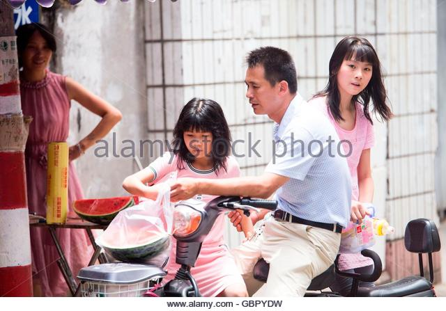 Fuzhou, China. 07th July, 2016. The highest temperature up to 35 degree centigrade because of foehn effect caused - Stock Image