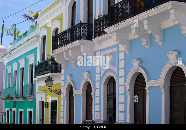The colonial town, San Juan, Puerto Rico, West Indies, Caribbean, United States of America, Central America - Stock Image