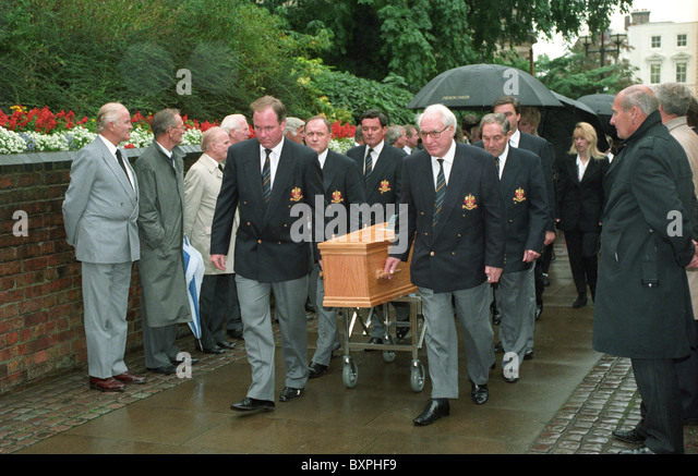 The funeral of English football legend Billy Wright at St Peters Church in Wolverhampton. Sir Jack Hayward and his - Stock Image