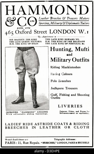 Original 1920s vintage print advertisement from English country gentleman's newspaper advertising hunting mufti - Stock Image