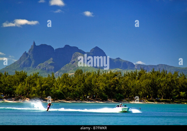 Water ski of Club Med at La Pointe aux Canonniers at north east coast Mauritius Africa - Stock Image
