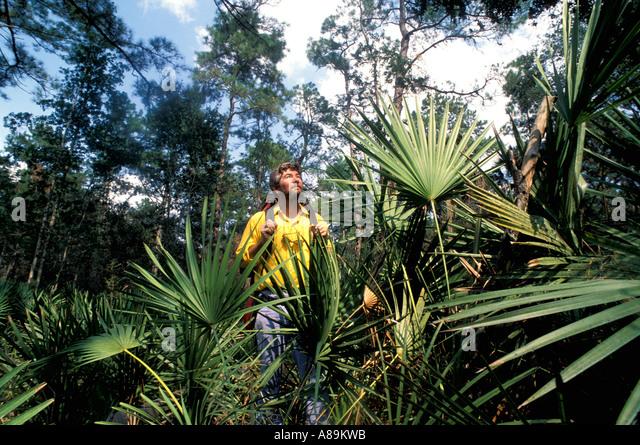 Florida hiking man backpacking - Stock Image