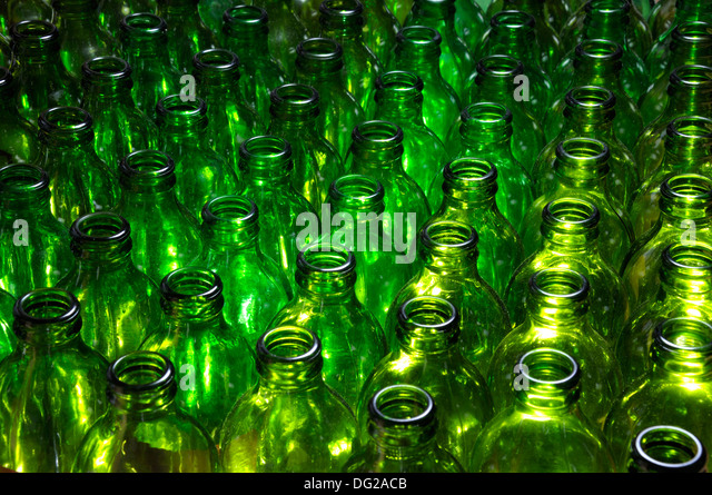 Empty green beer bottles - Stock Image