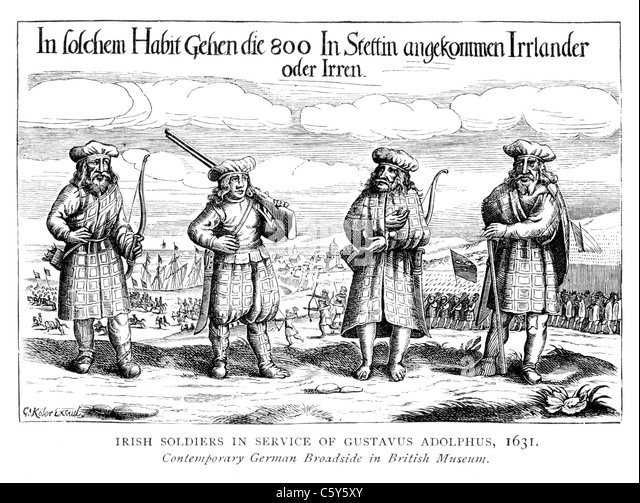 Irish Soldiers in the Service of Gustavus Adolphus, King of Sweden, 1631; Black and White Illustration; - Stock Image