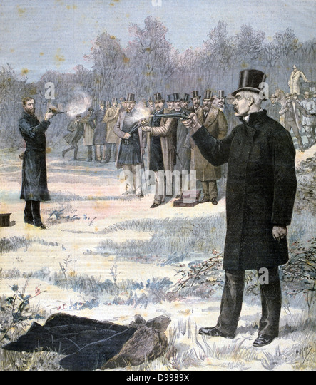 Duel between Georges Clemenceau (1841-1929) French Radical statesman, foreground, and Paul Deroulede (1846-1914) - Stock Image