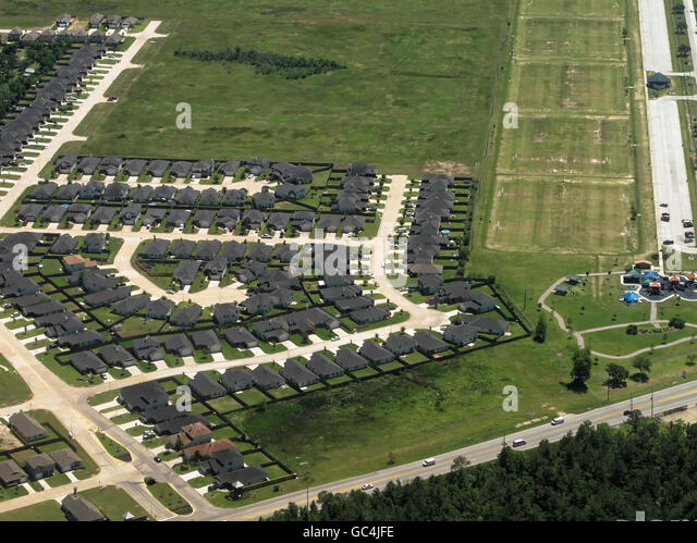 Aerial view of suburban homes in Houston, Texas - Stock Image