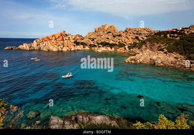 Italy Sardinia Capo Testa bay with cristal clear water bizarre rock landscape - Stock Image