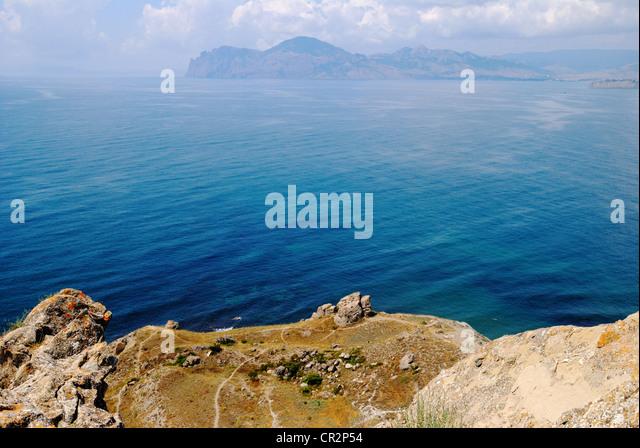 Coastline view, Ordzhonikidze (settlement of Feodosiya), Crimea, Ukraine - Stock Image