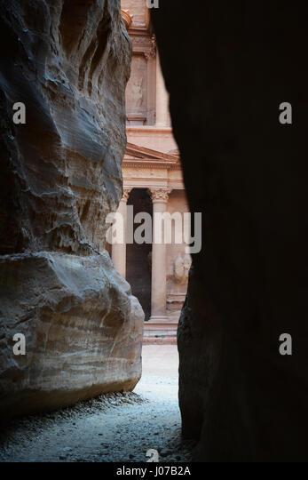 The Treasury as seen from the Siq in Petra, Jordan. - Stock Image