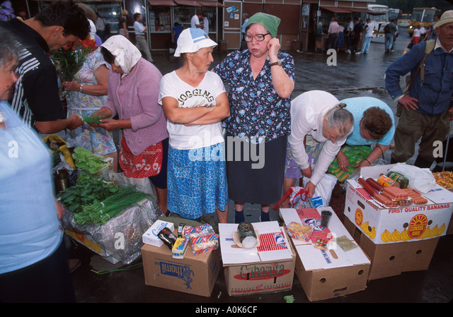 Russia former Soviet Union Moscow Rechnoi Vokzal Metro Station residents offer items for sale - Stock Image