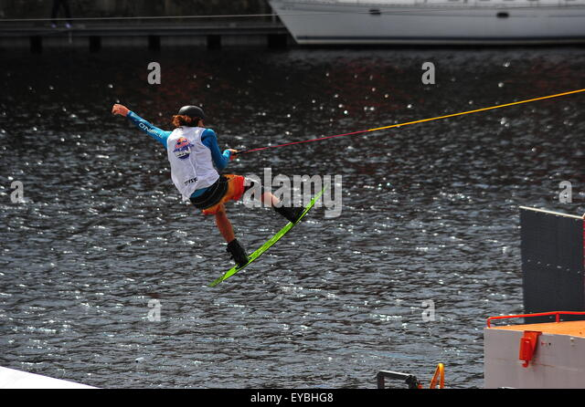 Wakeboarder in action at the Red Bull Harbour Reach championship 25th July 2015. - Stock Image