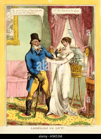Double entendre, Lodgings to Let, 1814 engraving featuring a double entendre. He: 'My sweet honey, I hope you - Stock Image