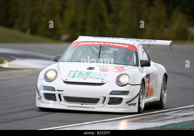 Porsche 997 GT3 S David Ashburn Richard Williams Team Trackspeed at Avon Tyres British GT Championship 2008 Knockhill - Stock Image
